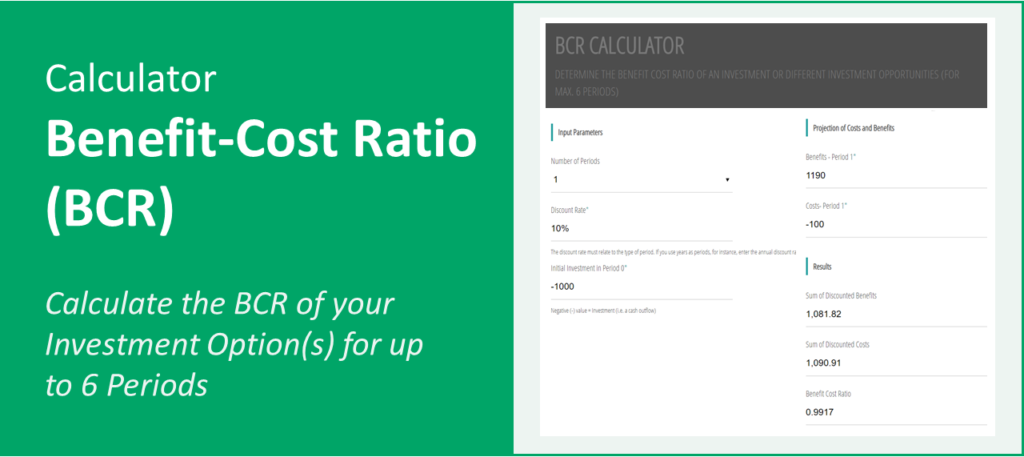 Calculator BCR/Benefit Cost Ratio Screnshot and Title