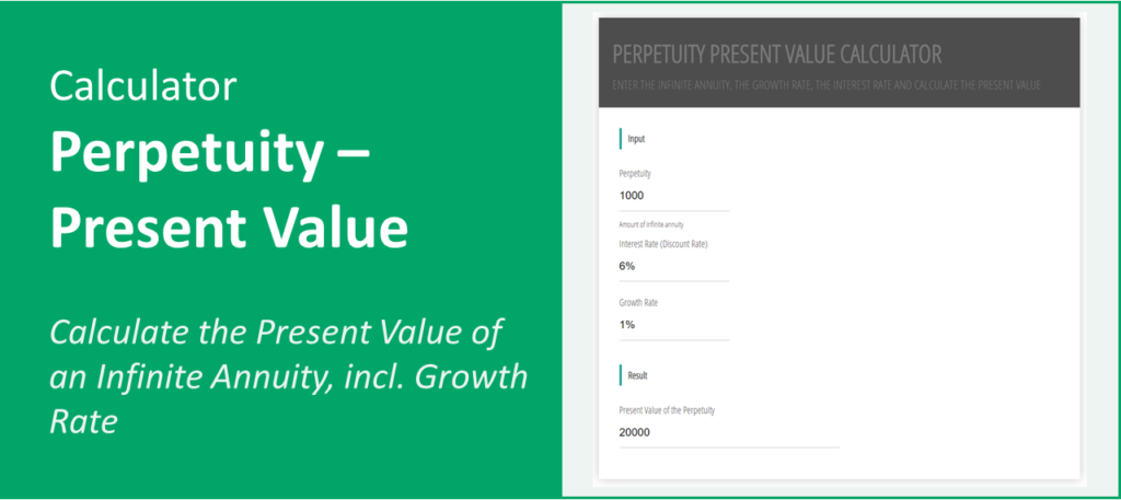 Screenshot calculator for present value of a perpetuity incl. growth rate